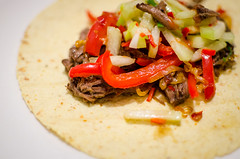 Wild boar carnitas with melon salsa
