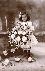 Vintage Postcard ~ Sweet Girl w/ Flowers