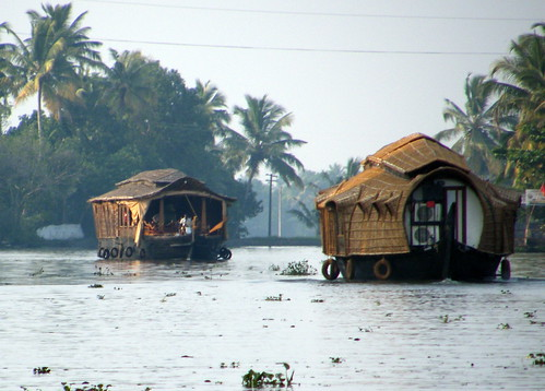 Kettuvallam (Rice Boats) on the Kerala Backwaters in Southern India