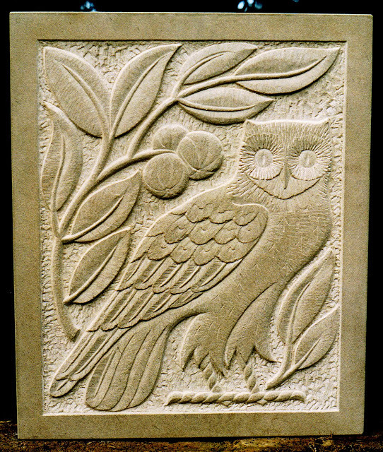 Owl relief. York stone.