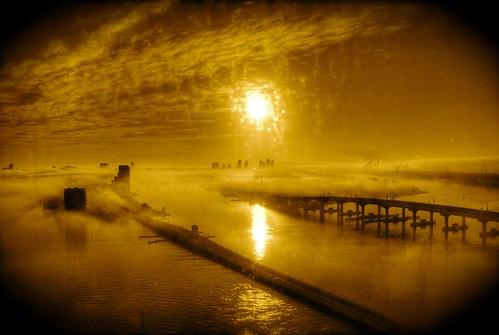 bridge sky fog clouds port sunrise island harbor florida miami foggy bridges aerial explore venetiancauseway bridging biscaynebay watsonisland blueribbonwinner macarthurcauseway bridgepixing bridgepix anawesomeshot 200801