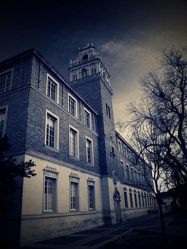 school blackandwhite bw building texas olympus westtexas lomofake lubbock texastech dumpr e410