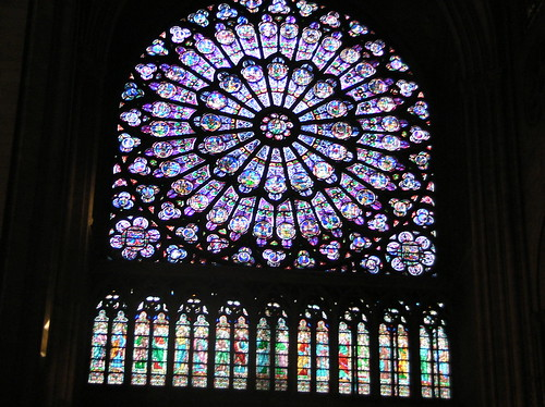 Notre dame stained glass detail.