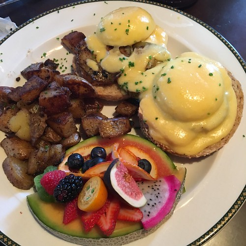 Limberger cheese and apple eggs benedict