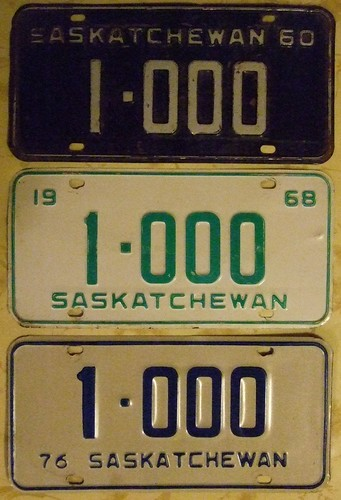 SASKATCHEWAN 1960, 68 AND 76 ---NUMBER 1-000 PLATES