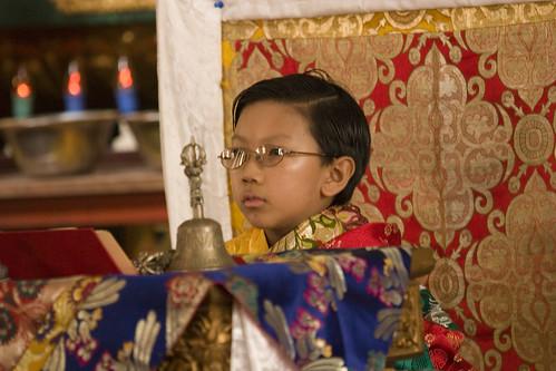 HE Asanga Sakya on his throne, Tharlam Monastery, Boudha, Kathmandu, Nepal by Wonderlane