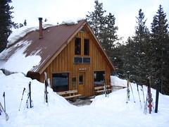 ski equipment, hut, winter, snow, cottage, log cabin, sugar house,