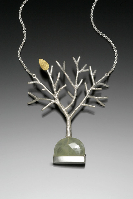 Silver Tree Necklace With Prehnite