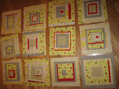 Yellow, Grey & Red Quilt