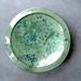 aqua green w blue spots platter 22 inch