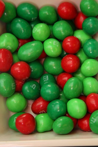 Christmas is green and red M&Ms