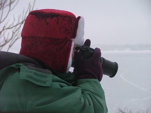 Fuzzy red photographer