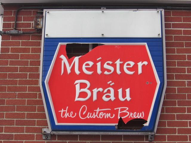 Meister Bräu sign - South Brighton, Chicago, Illinois U.S.A. - February 8, 2008