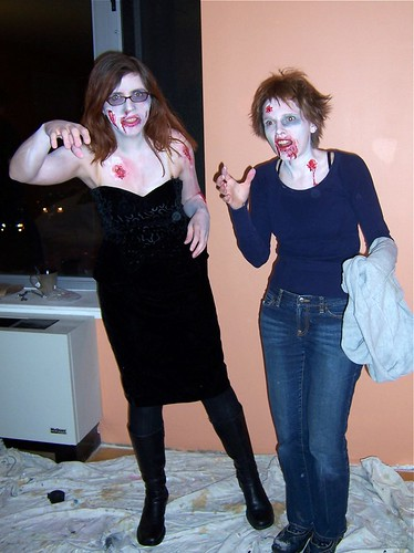 Mikhaela & Mary dressed for the Zombie Purim party