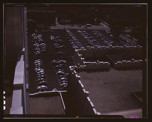 Looking down on a parking lot from the rear of the Fisher Building, Detroit, Mich.  (LOC)