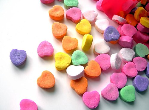 colorful candy love hearts