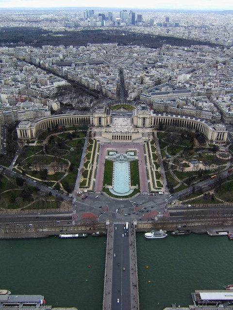 Eiffel Tower looking to Place de Varsovie and Jardins de Trocadero 2