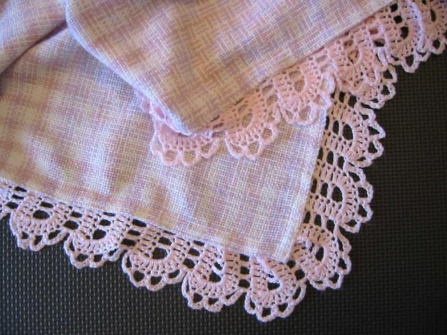 Crochet Baby Blanket Edging Patterns : Crocheted Edging on Woven Baby Blanket Flickr - Photo ...