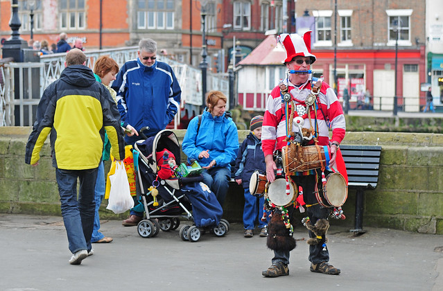 One Man Band with Audience, Whitby Harbour