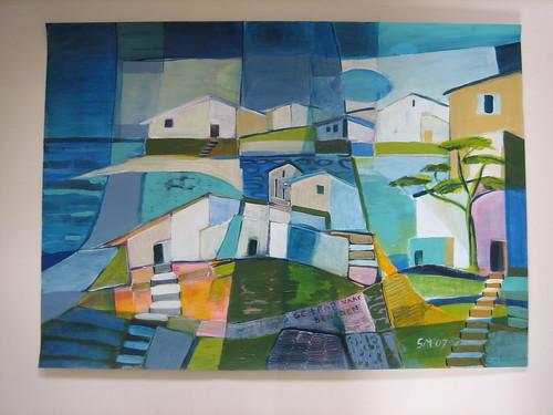 Dorp met trap naar zee gertie 39 s schilderijen - Schilderij trap ...