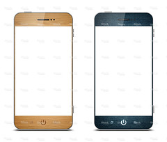 Smart phone with wood grain & denim
