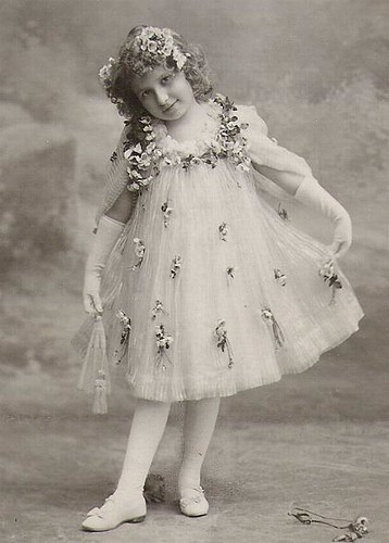 Vintage Postcard ~ Girl in Pretty Dress