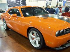 stock car racing(0.0), automobile(1.0), automotive exterior(1.0), wheel(1.0), vehicle(1.0), automotive design(1.0), auto show(1.0), dodge challenger(1.0), classic car(1.0), land vehicle(1.0), muscle car(1.0), sports car(1.0),