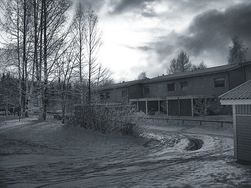 trees houses winter light shadow sun snow car clouds photoshop filmgrain filtered bluetint