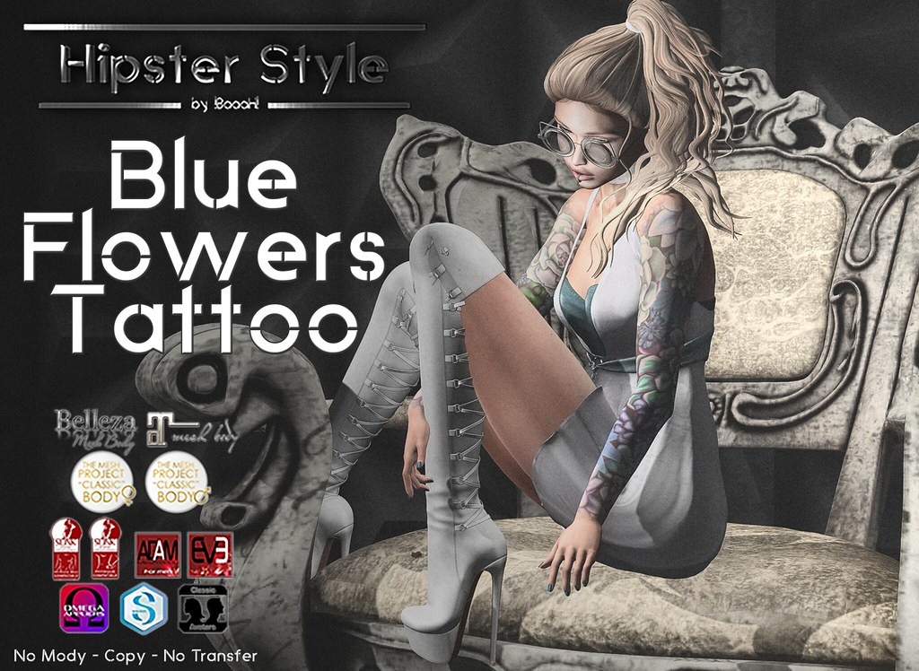 [Hipster Style] Blue Flowers Tattoo - SecondLifeHub.com