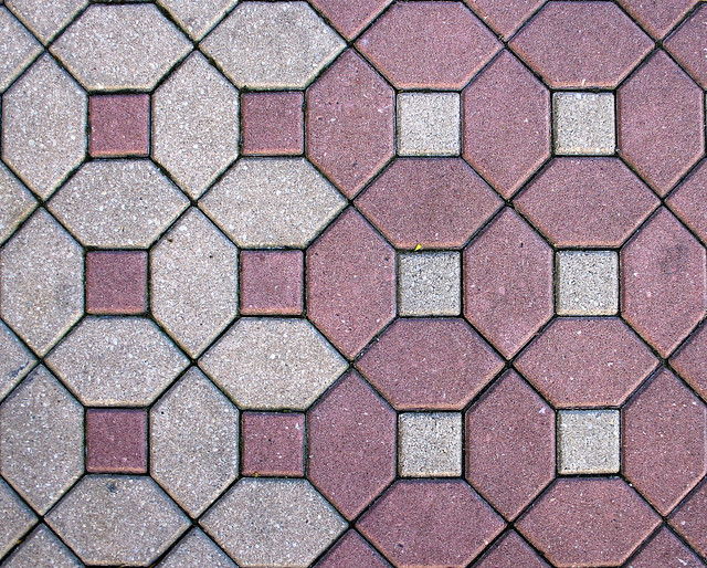 Contemporary Resort Geometric Stone Tile Walkway With