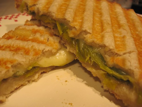 Braised leek and Swiss cheese panini