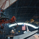 Steven F. Udvar-Hazy Center: Space exhibit panorama (hang glider, Space Shuttle Enterprise)