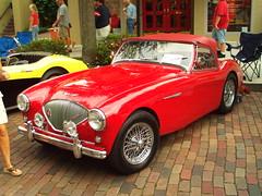 race car, automobile, vehicle, austin-healey 100, antique car, classic car, vintage car, land vehicle, sports car,