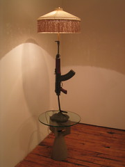 lamp, light fixture, wood, lampshade, light, table, lighting,