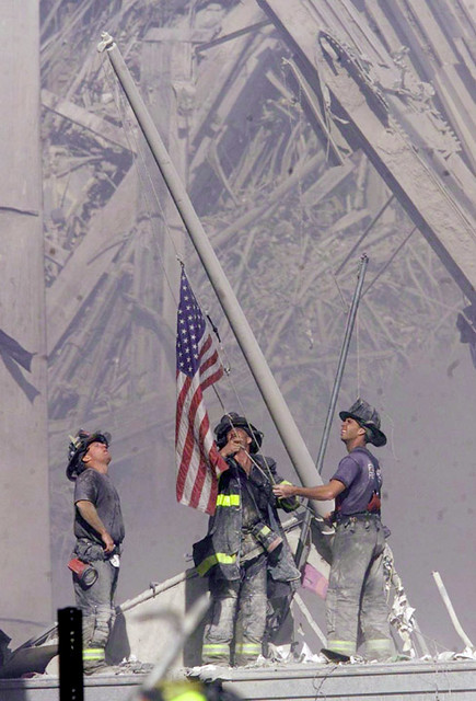 Firefighters at Ground Zero, Sept. 11, 2001