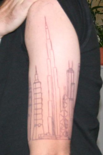 Angelina jolie and lady gaga skyline tattoos for Cleveland skyline tattoo