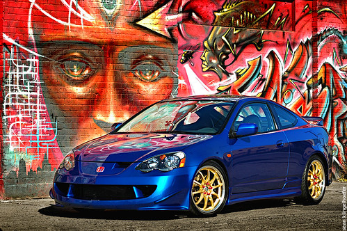 blue acura honda rsx dc5 jdm on gold volk CE39 rims wheels