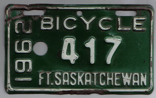 ALTA, FORT SASKATCHEWAN 1962 Bicycle license plate