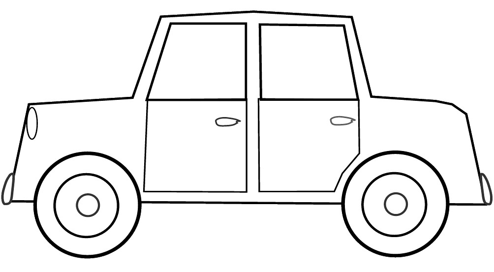 car sketch clipart to colour 17cm long