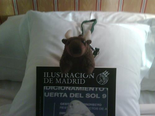 Buddy Bison enjoying a 5 star hotel in Madrid, Spain.