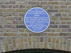 Photo of Guglielmo Marconi and Wireless Telegraph Company Limited blue plaque