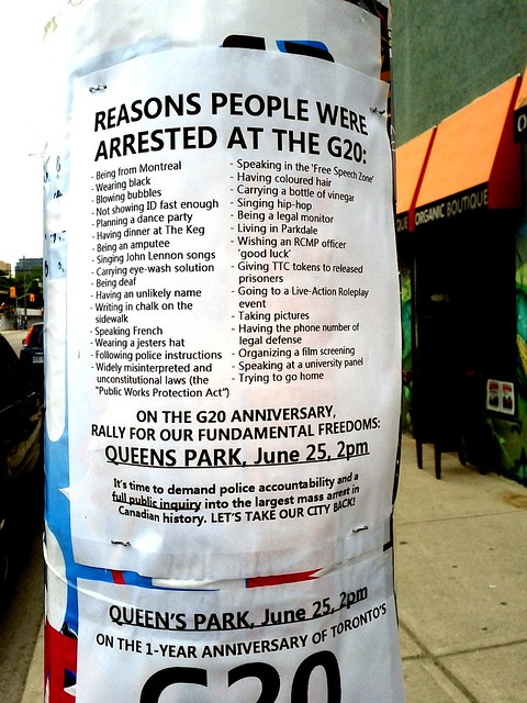 Reasons people were arrested at the G20, sign, Parkdale, Toronto, ON, Canada.jpg