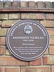 Photo of Anthony Newley brown plaque