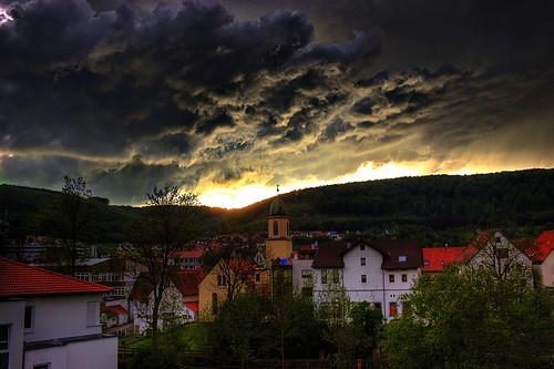 sunset rain clouds licht sonnenuntergang himmel wolken sonne gewitter regen sturm schwäbischealb tunderstorm oberkochen