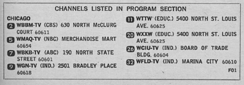 Chicago television channels in 1967