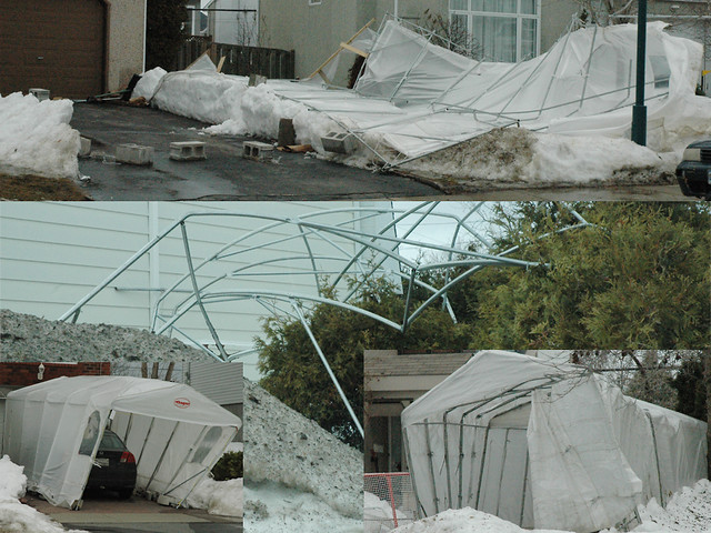 Temporary Snow Shelter For Cars : Flying temporary car shelters abris d autos temporaires