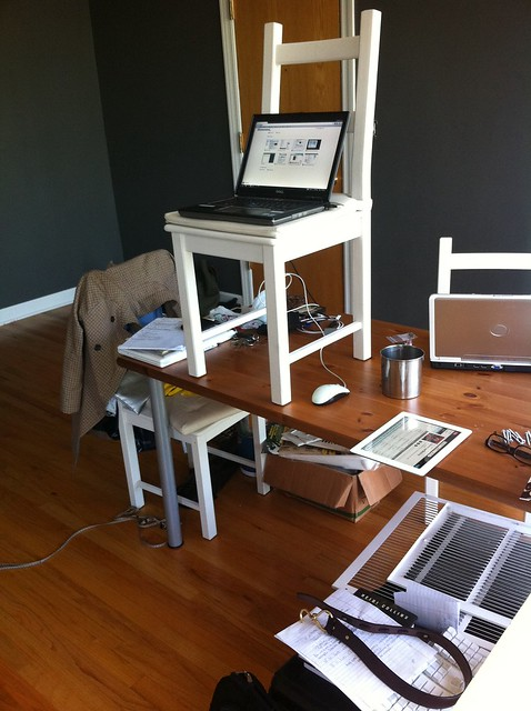 Temporary standing desk during redecoration my home for Home office standing desk