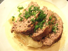 steak(0.0), pork chop(0.0), beef tenderloin(0.0), pã¢tã©(0.0), produce(0.0), meal(1.0), food(1.0), dish(1.0), meatloaf(1.0), cuisine(1.0),