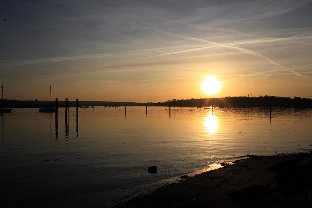 Saxon Shore Way & Medway estuary at sunset