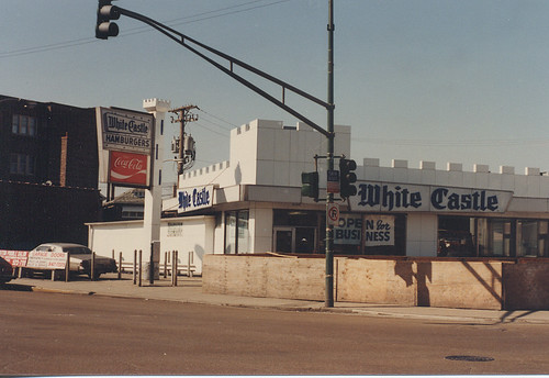 The original 1960's era White Castle restaurant at South Archer and Kedzie Avenues, in Chicago's Brighton Park neighborhood. Seen in March of 1985 prior to demolition. by Eddie from Chicago